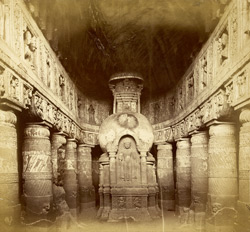 Interior of Buddhist chaitya hall, Cave XIX, Ajanta 10005494
